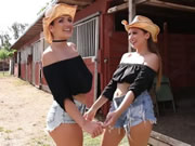 Jiggly Lesbo Cowgirls Munch On Their Cunts In The Ranch
